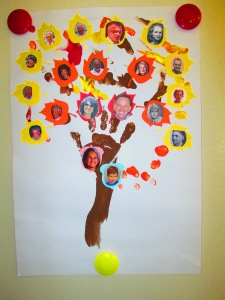 Family Tree - made from finger print art, die cut paper leaves, and photographs.